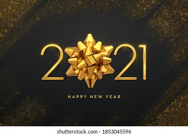 Happy New 2021 Year. Golden metallic luxury numbers 2021 with golden gift bow on shimmering background. Bursting backdrop with glitters. Greeting card, festive poster or holiday banner. Vector.