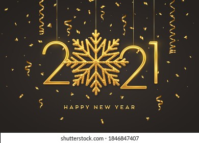 Happy New 2021 Year. Hanging Golden metallic numbers 2021 with shining snowflake and confetti on black background. New Year greeting card or banner template. Holiday decoration. Vector illustration.