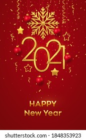 Happy New 2021 Year. Hanging Golden metallic numbers 2021 with shining snowflake, 3D metallic stars, balls and confetti on red background. New Year greeting card or banner template. Vector.
