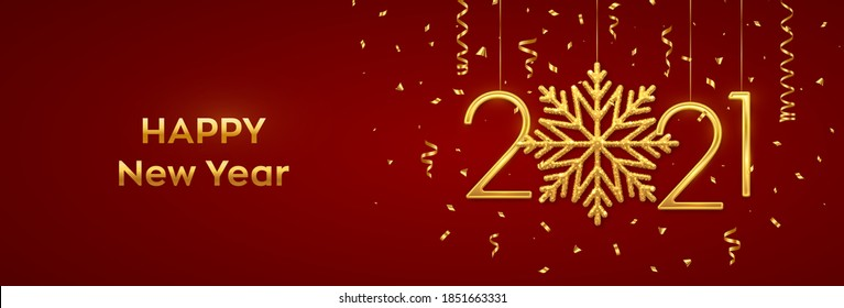 Happy New 2021 Year. Hanging Golden metallic numbers 2021 with shining snowflake and confetti on red background. New Year greeting card or banner template. Holiday decoration. Vector illustration.