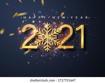 Happy New 2021 Year. Holiday vector illustration of golden metallic numbers 2021 and sparkling glitters pattern. Holiday greetings.
