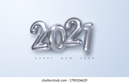 Happy New 2021 Year. Holiday vector illustration of silver metallic numbers 2021. Realistic 3d sign. Festive poster or banner design