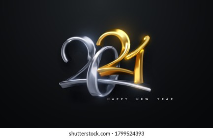 Happy New 2021 Year. Holiday vector illustration of golden and silver metallic calligraphic numbers 2021. Realistic 3d sign. Festive poster or banner design. Modern lettering composition. Jewelry logo