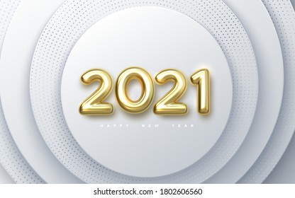 Happy New 2021 Year. Holiday vector illustration of golden metallic numbers 2021. Realistic 3d sign on white paper cut background. Festive poster or banner design