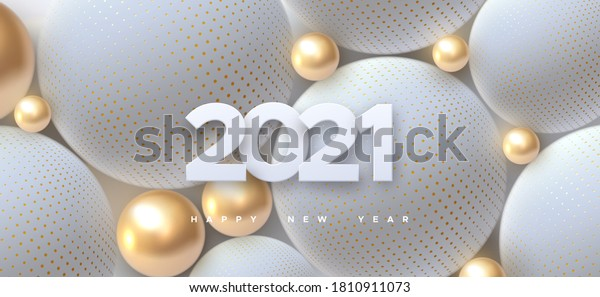 Happy New 2021 Year. Holiday vector illustration of white paper numbers 2021 and abstract balls or bubbles. 3d sign. Festive poster or banner design. Party invitation