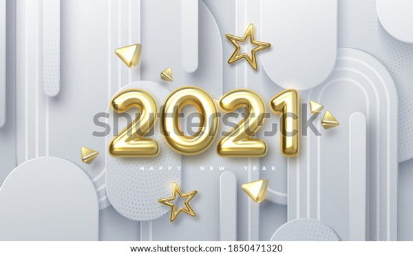 Happy New 2021 Year. Holiday vector illustration of golden metallic numbers 2021 and ornamental shapes on white paper cut background. Realistic 3d sign. Festive poster or banner design