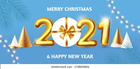 Happy New 2021 Year! Party poster template with 3D realistic text, stylised fir trees and gift box. Festive design. Christmas flyer template.