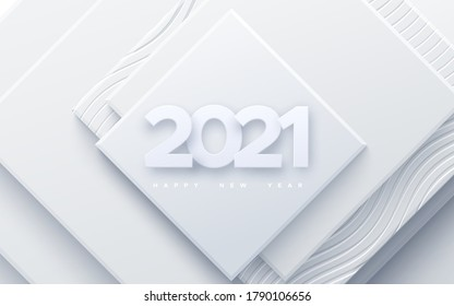 Happy New 2021 Year. Vector holiday illustration. Paper 3d numbers on white abstract background. Festive event banner. Geometric square shapes. Decoration element for poster or cover design
