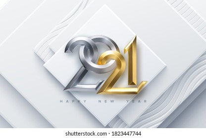 Happy New 2021 Year. Vector holiday illustration. Silver and Golden 3d numbers on white abstract geometric background. Festive event banner. Paper cut square shapes. Poster or cover design
