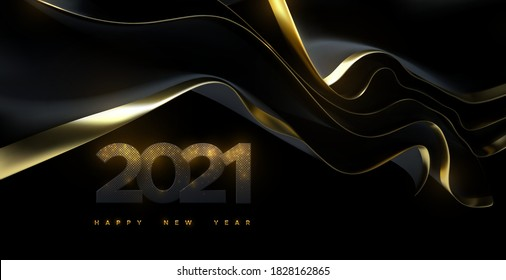 Happy New 2021 Year. Vector holiday illustration. Black paper numbers textured with glittering golden particles and black streaming fabric. Shimmering papercut sign. Festive banner template
