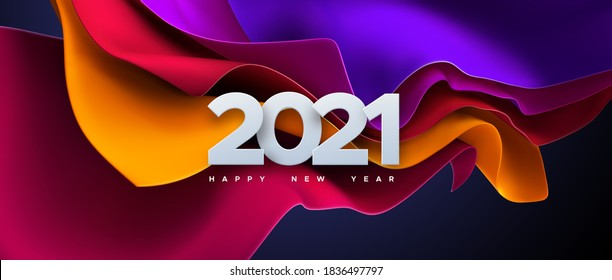 Happy New 2021 Year. Vector holiday illustration of paper cut numbers on colorful streaming fabric background. Festive event banner. Decoration element for poster or cover design