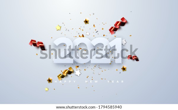 Happy New 2021 Year. Vector holiday illustration of paper cut numbers with sparkling confetti particles, golden stars and streamers. Festive event banner. Decoration element for poster or cover design