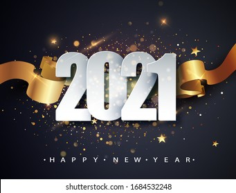 Happy new 2021 year. Winter holiday greeting card design template. New Year holiday posters. Happy New Year dark festive background.