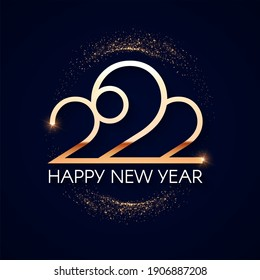 Happy new 2022 year Elegant gold text with light. Minimalistic text template.