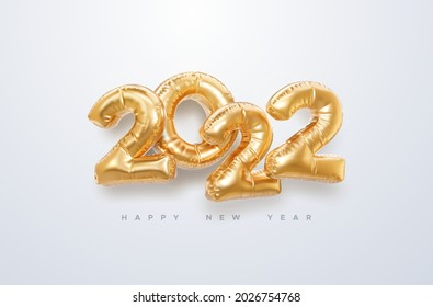 Happy New 2022 Year. Vector holiday illustration. 2022 golden foil balloons on white background. Gold helium balloon numbers. . Realistic 3d sign. Design element for festive poster or banner design