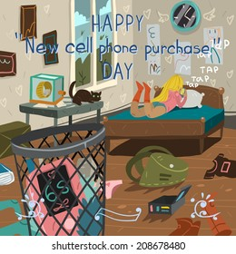 Happy new cell phone purchase day funny cartoon greeting card. For ui, web games, tablets, wallpapers, and patterns.