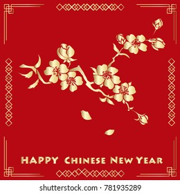 Happy new chinese year card with blossom tree. Vector illustration