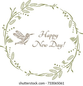 Happy New day. Vintage design for greeting card. Vector