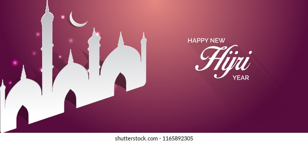 Happy new hijri year banner design with mosque illustration. vector greeting for islamic new year.