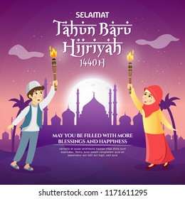 Happy New Hijri Year, Islamic new year 1440 Hijriyah vector illustration. Cute cartoon muslim kids celebrating islamic new year with mosque as background