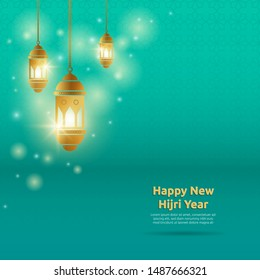 Happy New Hijri Year. Islamic New Year background with shiny golden cresent moon and hanging arabic lantern.