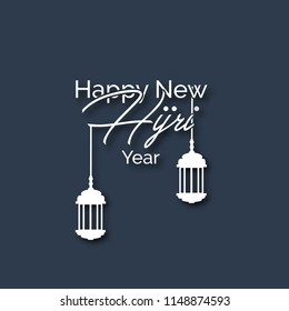 Happy new hijri year poster, greeting card and template design.