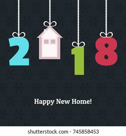 Happy New Home 2018 Abstract Real Estate Card