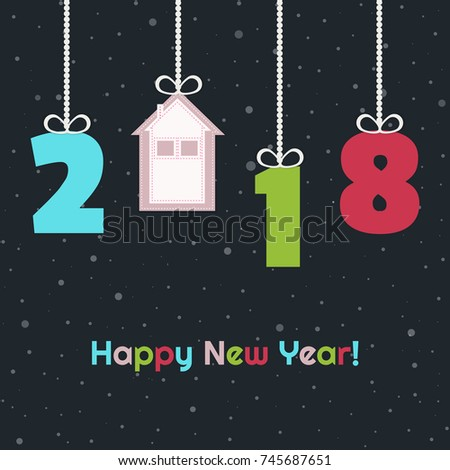 happy new home 2018 abstract card
