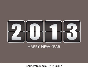 Happy new year 2013 background with ticker date calendar