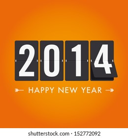 Happy new year 2014 card. Mechanical timetable in movement