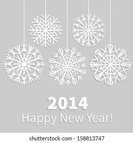 Happy New Year 2014 card with paper snowflakes. Applique background. Vector illustration.  EPS10.