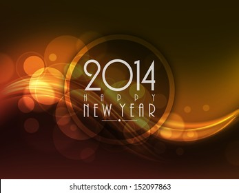 Happy New Year 2014 celebration background with shiny wave.