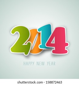 Happy New Year 2014 celebration poster, banner or flyer design with colorful text.