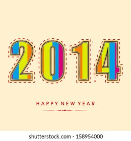Happy New Year 2014 celebration party, poster or banner with colorful text on abstract background.