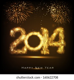 Happy New Year 2014 celebration concept with golden text on beautiful fireworks in the night.