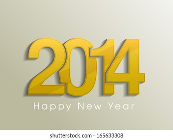 Happy New Year 2014 celebration flyer, poster, banner or invitation with golden text on abstract background.