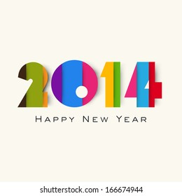 Happy New Year 2014 celebration flyer, banner, poster or invitation with colorful text on abstract background.