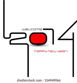 happy new year 2014, typographic illustration