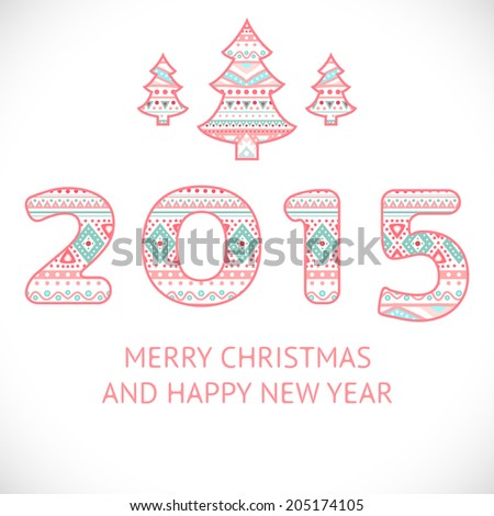 Happy new year 2015 beauty greeting stock vector royalty free happy new year 2015 beauty greeting card made in tribal style vector illustration for holiday m4hsunfo