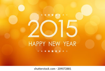 happy new year 2015 in bokeh and lens flare pattern on summer orange background (vector)