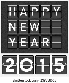 Happy new year 2015 card. Mechanical timetable