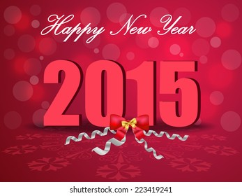 Happy New Year 2015, celebration concept with bow ribbons on beautiful glow background vector - eps10
