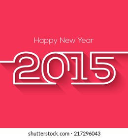 Happy new year 2015 creative greeting card design in flat style with long shadow.