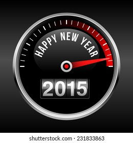 Happy New Year 2015 Dashboard Background - speedometer dial and odometer.  EPS10 file with transparency.