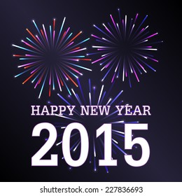 Happy New Year 2015 With Firework Background