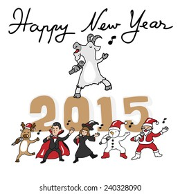 Happy New Year 2015 goat and teams singing