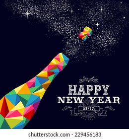 Happy new year 2015 greeting card or poster design with colorful triangle champagne explosion bottle and vintage label illustration. EPS10 vector file with transparency layers.