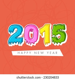Happy New Year 2015 greeting card design with colorful text on orange background.