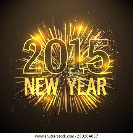 Happy new year 2015 greeting card stock vector royalty free happy new year 2015 greeting card design with golden text on fireworks decorated brown background m4hsunfo