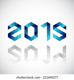 Happy New Year 2015 made in polygonal origami style - 2014 change to 2015